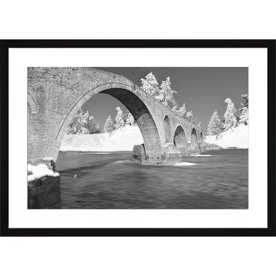 Winter Traditional Bridge Arta Greece Stone, Framed Paper Print Size: Large, Frame Color: Black