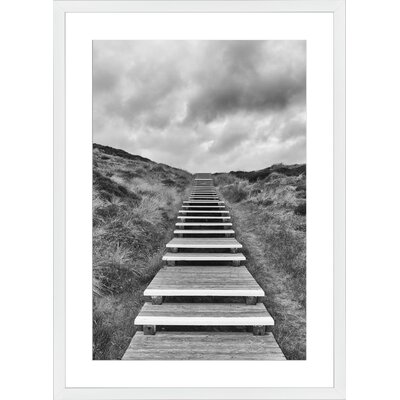 Wooden Footpath through Dunes, Framed Paper Print Frame Color: White, Size: Medium