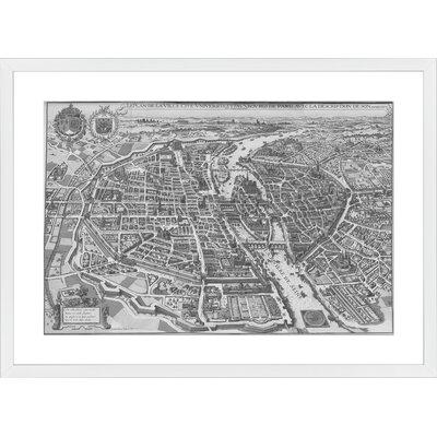 Paris Vintage Map, Framed Paper Print Frame Color: White, Size: 21