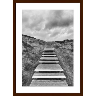 Wooden Footpath through Dunes, Framed Paper Print Size: Large, Frame Color: Espresso