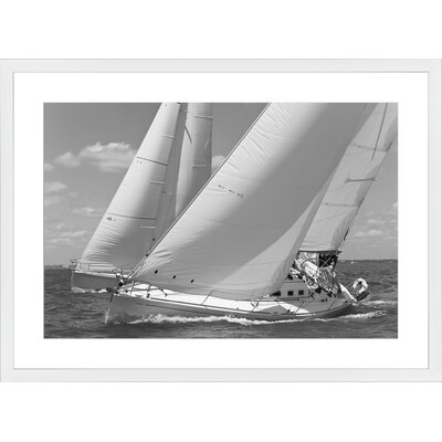 Racing Yachts, Framed Paper Print Frame Color: White, Size: 21