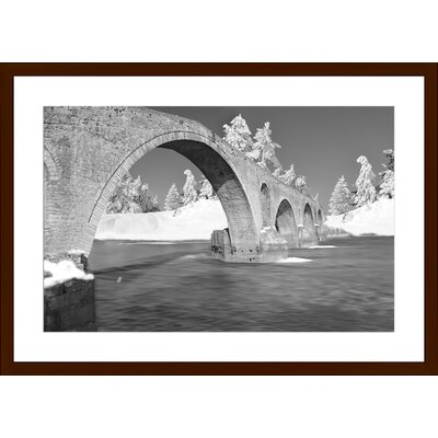 Winter Traditional Bridge Arta Greece Stone, Framed Paper Print Size: Large, Frame Color: Espresso