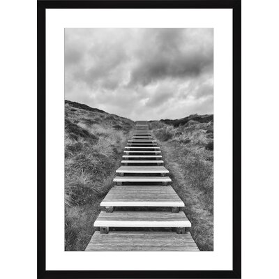 Wooden Footpath through Dunes, Framed Paper Print Frame Color: Black, Size: Medium