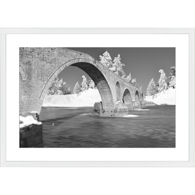 Winter Traditional Bridge Arta Greece Stone, Framed Paper Print Frame Color: White, Size: Large