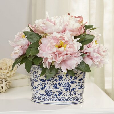 Pink Peony Cluster in Chinoiserie Planter