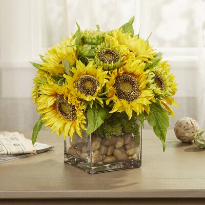 Faux Sunflowers in Glass Vase