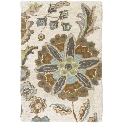 Jasmine Parchment & Moss Tufted Wool Area Rug Rug Size: Rectangle 2 x 3