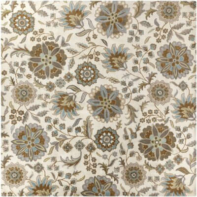 Jasmine Parchment & Moss Tufted Wool Area Rug Rug Size: Square 4