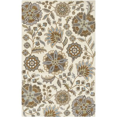 Jasmine Parchment & Moss Tufted Wool Area Rug Rug Size: Rectangle 5 x 8