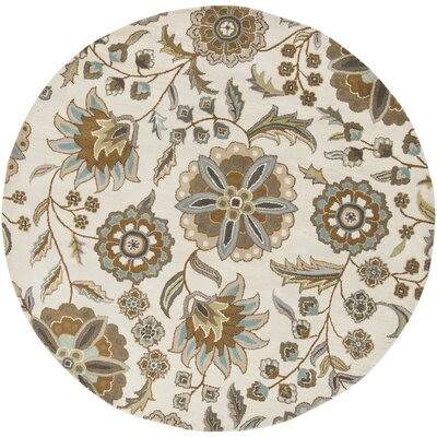 Jasmine Parchment & Moss Tufted Wool Area Rug Rug Size: Round 6