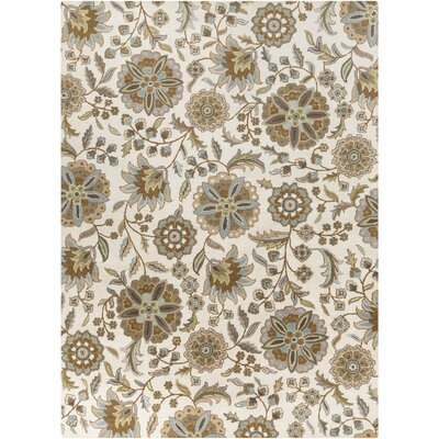 Jasmine Parchment & Moss Tufted Wool Area Rug Rug Size: Rectangle 10 x 14