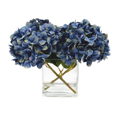 Faux Blue Hydrangea in Glass Vase