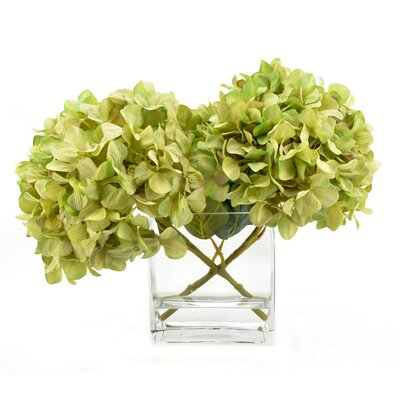 Faux Green Hydrangea in Square Vase