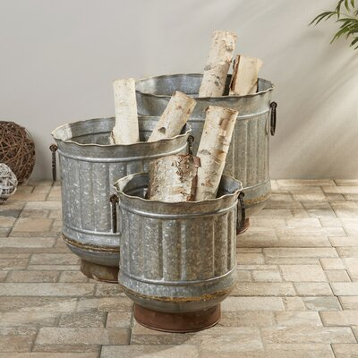 3-Piece Griffin Galvanized Pot Planter Set