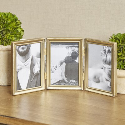 Bead Hinged Triple Picture Frame