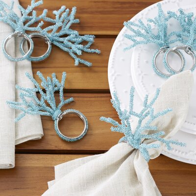 Colorful Coral Napkin Rings (Set of 6) Color: Aqua