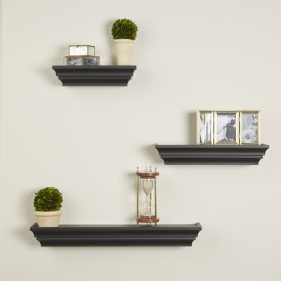 3 Piece Madison Wall Shelf Set Finish: Black