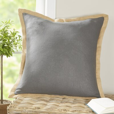 Shayna Jute Trim Pillow Cover Color: Charcoal