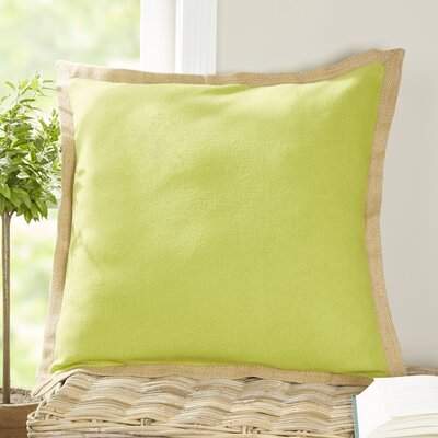 Shayna Jute Trim Pillow Cover Color: Celery Green