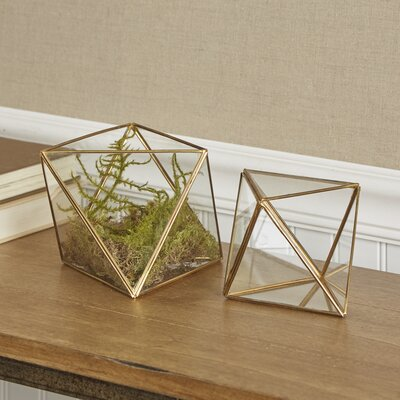Faceted 2-Piece Glass Terrariums Set
