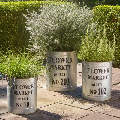 Flower Market 3-Piece Metal Planter box Set