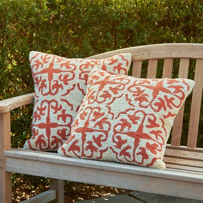 Portia Hooked Pillow Color: Cream / Tropical Orange