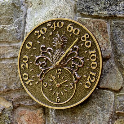 Pineapple Patio Wall Clock & Thermometer