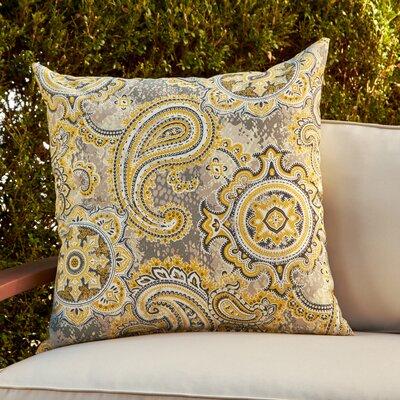 Kathleen Outdoor Throw Pillow Color: Yellow/Gray