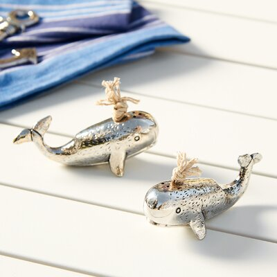 Silver Whale Salt and Pepper Shakers (Set of 2)