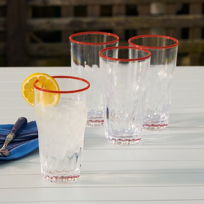 Lincolnville 19 oz. Acrylic Everyday Glasses Color: Red