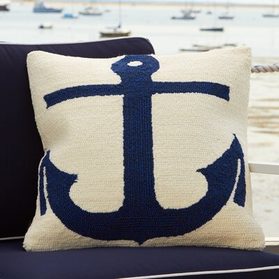 Captains Hooked Pillow Color: White / Marine Blue