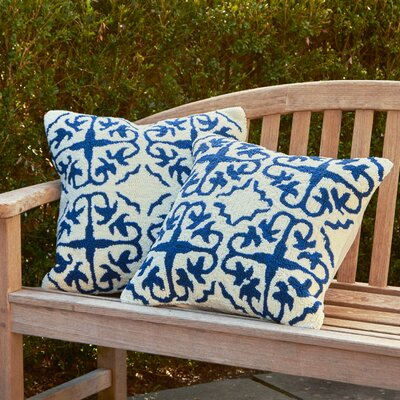 Portia Hooked Pillow Color: White / Marine Blue