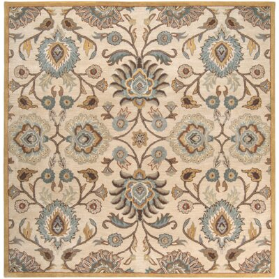 Phoebe Parchment & Teal Rug Rug Size: Square 6