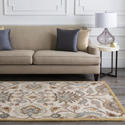 Phoebe Parchment & Teal Rug Rug Size: 4' x 6'