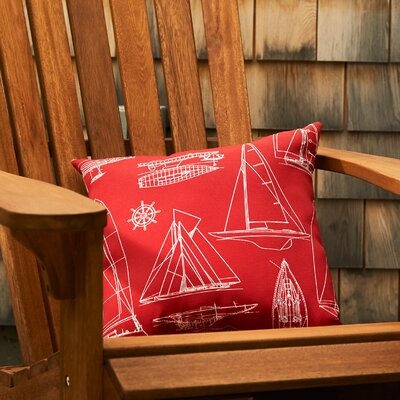 Sailing Throw Pillow Color: Red