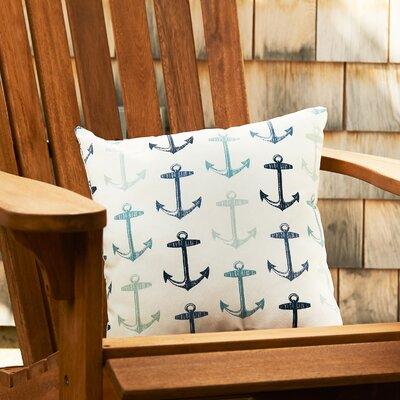 Anchors Away Throw Pillow Color: Blue