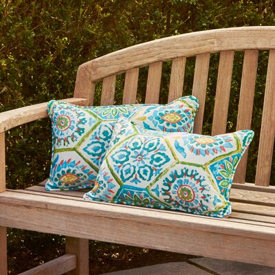 Alina Rectangle Outdoor Pillow Size: 11.5 H x 18.5 W x 5 D, Color: Blue / Turquoise / Coral / White