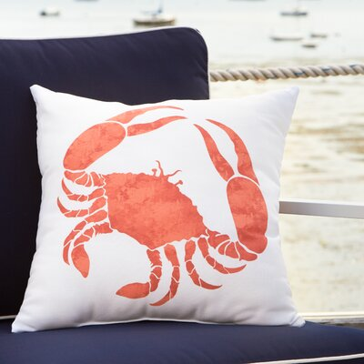 Crab Walk Outdoor Pillow Size: 18 H x 18 W, Color: Coral