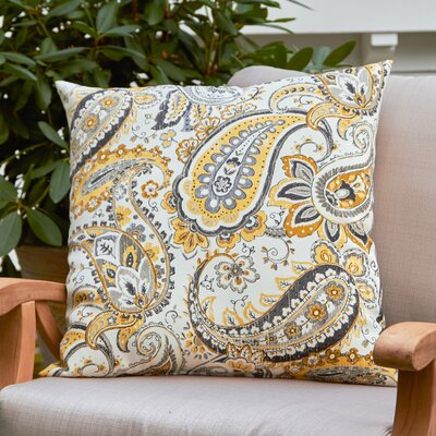 Cornelia Outdoor Pillow Color: Black / Yellow