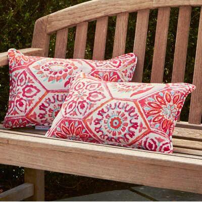 Alina Rectangle Outdoor Pillow Size: 5 H x 16.5 W x 24.5 D, Color: Pink / Orange / Turquoise / White
