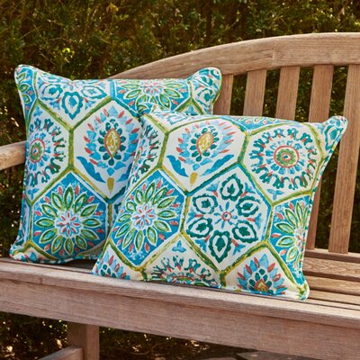 Alina Outdoor Pillow Color: Blue / Turquoise / Coral / White