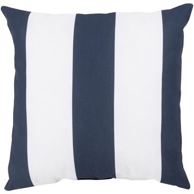 Outdoor Pillow-Navy & White Vertical Stripe Size: 18 H x 18 W x 4 D, Color: Sunflower/Ivory