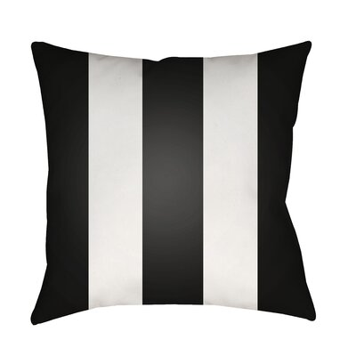 Outdoor Pillow-Black & White Vertical Stripe Size: 18 H x 18 W x 4 x D, Color: Brown
