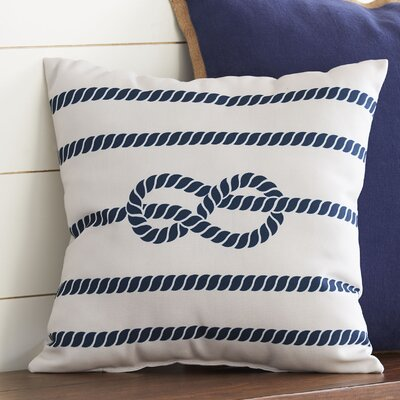 Figure Eight Polyester Throw Pillow Color: White & Blue, Size: 18