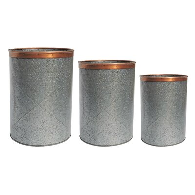 Birch Lane Callington 3-Piece Zinc Pot Planter Set