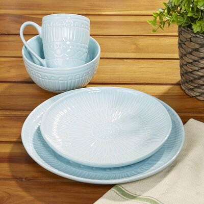 Westray 16-Piece Dinnerware Set Color: Light Blue