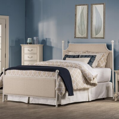 Williston Bed Size: King, Color: Off White/Beige Fabric