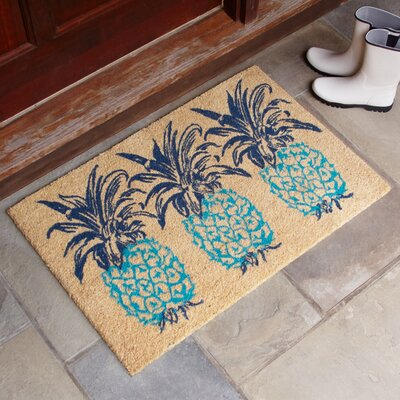 Trio Pineapple Rust Welcome Doormat Mat Size: Rectangle 2 x 3, Color: Aqua