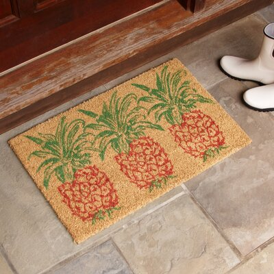 Trio Pineapple Rust Welcome Doormat Rug Size: Rectangle 16 x 24, Color: Orange