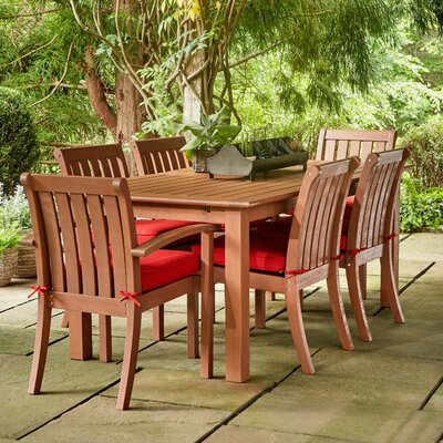 Rossi 7-Piece Dining Set with Cushions Fabric: Red